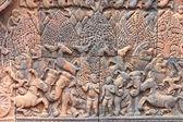 Stein geschnitzt im bayon-tempel, angkor thom — Stockfoto
