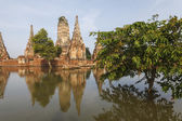 Floods Chaiwatthanaram Temple at Ayutthaya — 图库照片