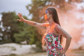 Woman in fire — Stock Photo