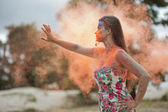 Woman on fire — Stock Photo