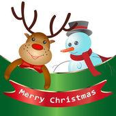 Weihnachtskarte mit hirsch — Stockvektor