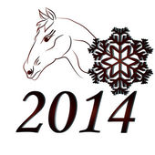 Horses in 2014 — Stock Vector
