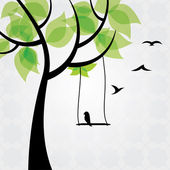 Tree and birds stylized — Stock Vector