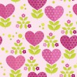 Stock Vector: Seamless patterns with flowers, hearts and leaves.