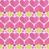 Seamless patterns with flowers, hearts and leaves. — Stock Vector