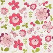 Seamless pattern with flowers and butterfly. Cute seamless. — Stock Vector