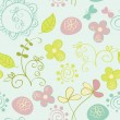 Seamless pattern with flowers and butterfly. Cute seamless. — Stock Vector #39553473