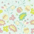 Seamless pattern with flowers and birds. Cute seamless. — Stock Vector #39553599