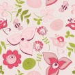Seamless pattern with flowers and birds. Cute seamless. — Stock Vector #39553603