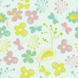 Seamless pattern with flowers and birds. Cute seamless. — Stock Vector #39553629