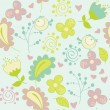 Seamless pattern with flowers and birds. Cute seamless. — Stock Vector #39553653