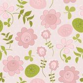 Seamless pattern with flowers and birds. Cute seamless. — Stock Vector