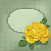 Vintage vector card with rose and frame.Card for invitation with  yellow rose — Stockvektor