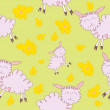 Stock Vector: Seamless pattern with cartoony sheeps