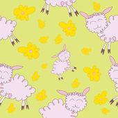 Seamless mönster med tecknad sheeps — Stockvektor