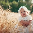 Laughing kid in sunny wheat  field — Stock Photo