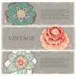 Royalty-Free Stock Vector Image: Vintage flowers banners set