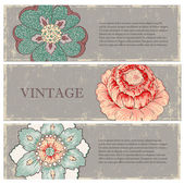 Vintage flowers banners set — Stock Vector