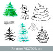 Fir trees vector set — Stockvectorbeeld