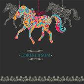 Vintage achtergrond met decoratieve paarden — Stockvector