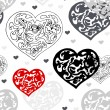 Stock Vector: Black and white ornamental hearts pattern