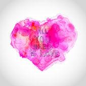 Coração de aquarela com cartas de amor — Vetor de Stock