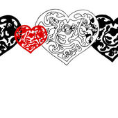 Black and white ornamental hearts border pattern — ストックベクタ
