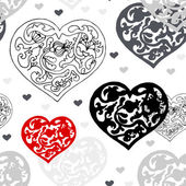 Black and white ornamental hearts pattern — Stock Vector