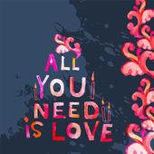 Akvarell alla hjärtans dag-kort — Stockvektor