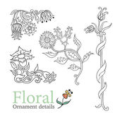Decorative flowers ornamental vector set — Stock Vector