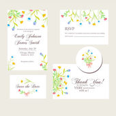 Watercolor flowers wedding invitations set — Stock Vector