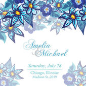 Wedding invitation card with blue flowers — Stock Vector