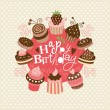 Greeting birthday card with cute little cakes — Stock Vector #12865215