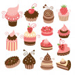 Stock Vector: Set of cute little cakes