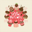 Greeting birthday card with cute little cakes — Stock Vector