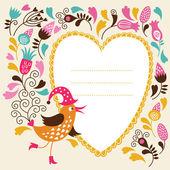 Marco de texto con linda ave — Vector de stock