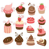 Set of cute little cakes — Stock Vector