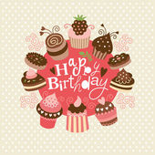 Greeting birthday card with cute little cakes — Vetor de Stock