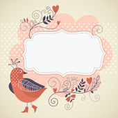 Frame for text with cute bird — Stock Vector