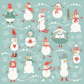 Ensemble de bonhommes de neige mignons drôles — Vecteur