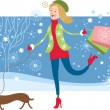Cute Girl walking with dog and purshases — Imagen vectorial