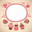 Card with sweet cakes — Stock Vector