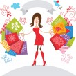 Vector illustration of cute girl with purchases — Imagen vectorial