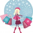 Cute Girl shopping - Stockvectorbeeld