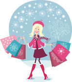 Cute Girl shopping — Stock Vector