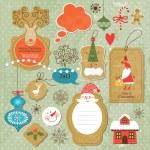 insieme di elementi di Natale e Capodanno — Vettoriale Stock  #13778619