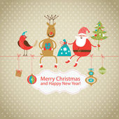 Greeting Christmas and New Year's card — Vector de stock