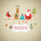 Noel ve yeni yıl tebrik kartı — Stok Vektör
