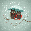 Royalty-Free Stock Vectorielle: Two cute sad owls