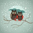 Two cute sad owls — Stock Vector